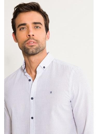 Avva Erkek  Baskılı Düğmeli Yaka Slim Gömlek A01S2203 Beyaz